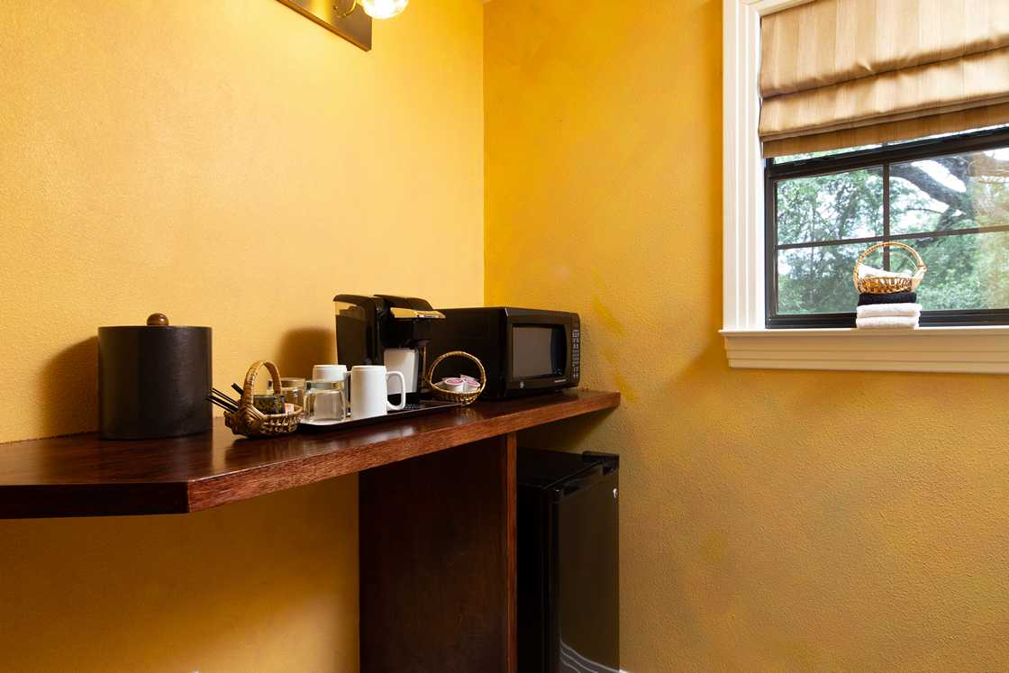 coffee bar with yellow walls