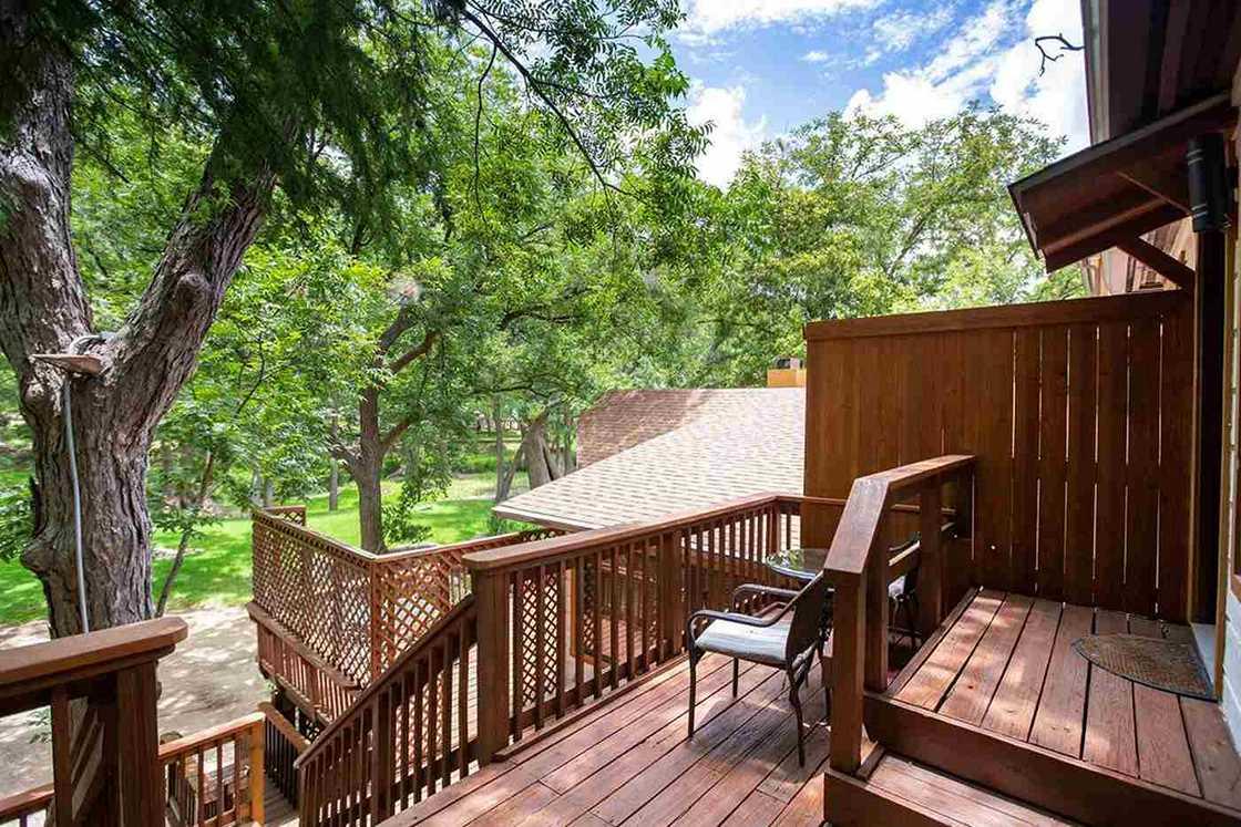 multi-level wood porch