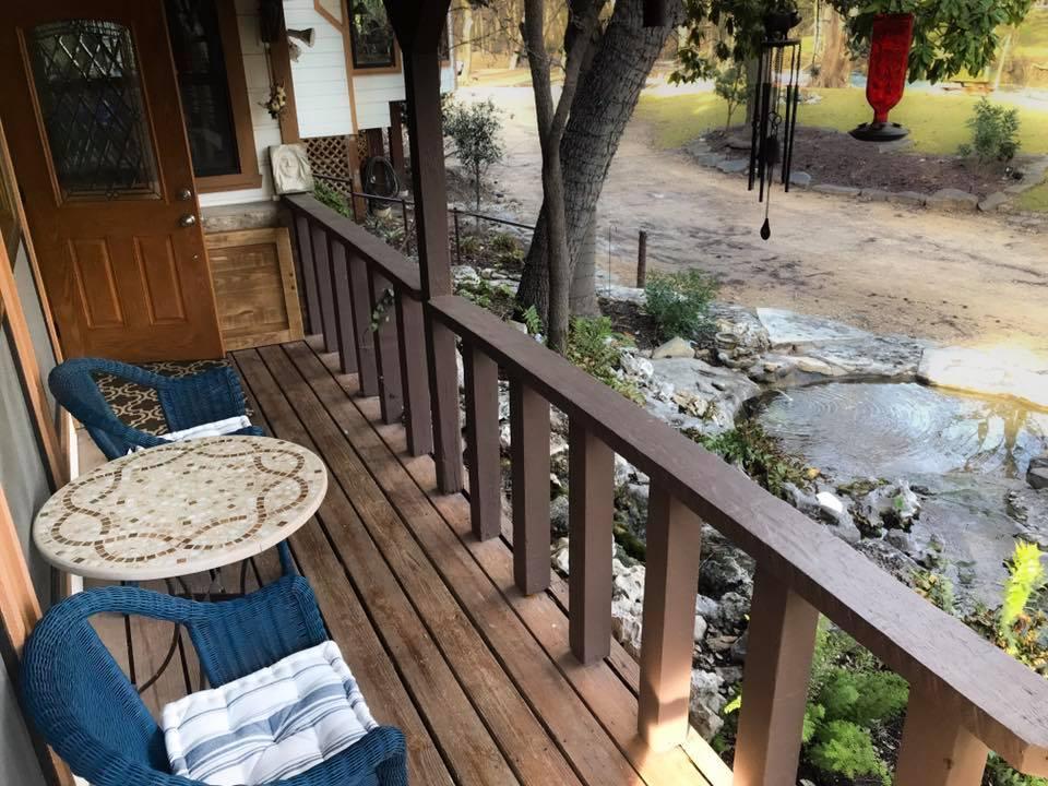 porch overlooking cypress creek