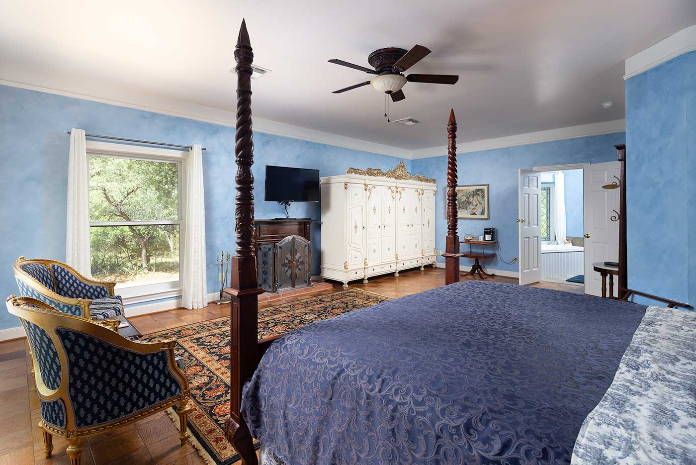 bluebonnet armoire bed chairs