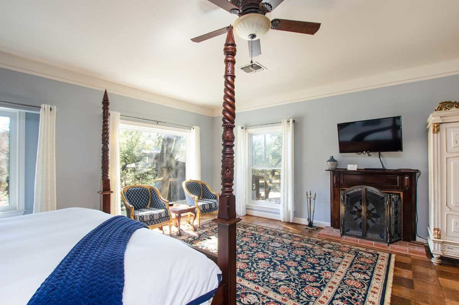 Bluebonnet Fireplace from bed